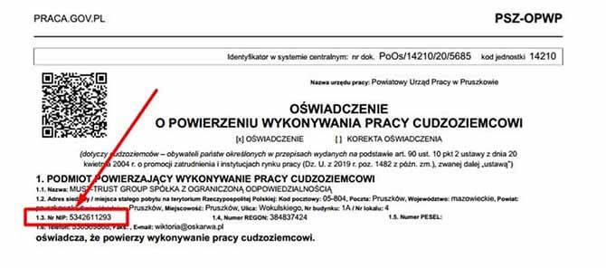 Показано где находится NIP номер компании на рабочем приглашении в Польшу на пол года фото 2020