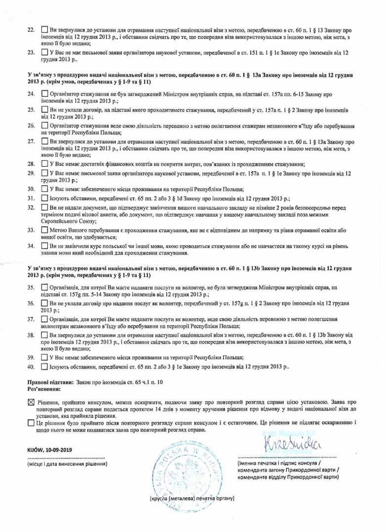 Все пункты отказа в польской визе в 2020 году, образец